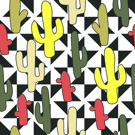 indian summer: Colorful cactus indian summer on triangle background pattern in vector in comics style. Seamless pattern can be used for wallpaper, pattern fills, web page background, surface textures. Stock Photo
