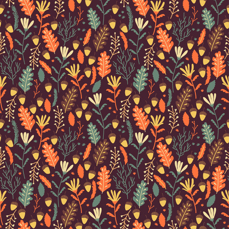 acorn: Autumn vector seamless pattern with red and orange leaves. Cute vector backgrounds in warm retro colors. Seamless pattern can be used for wallpaper, pattern fills, surface textures