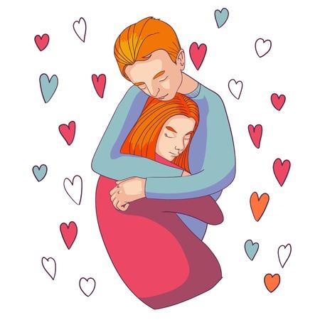 femme romantique: jeune couple dans l'amour faisant un c�lin passionn� et tendre. Illustration