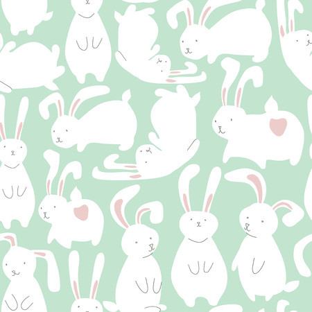animalistic: Seamless pattern with cute white rabbits. Can be used for wallpaper, pattern fills, web page background, surface textures. Illustration