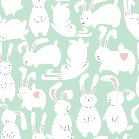 Modelo inconsútil con los conejos blancos lindos. Puede ser utilizado para el papel pintado, patrones de relleno, de fondo página web de texturas de superficie.