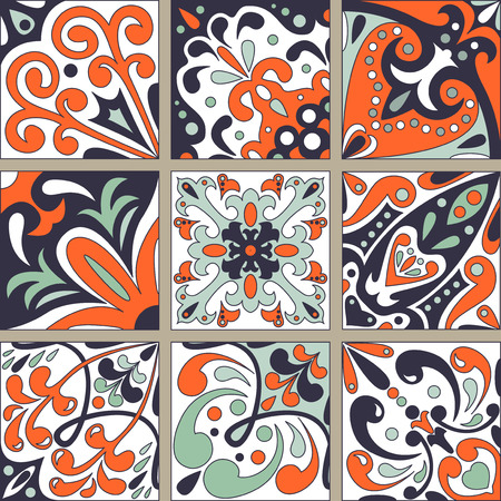 wall hanging: Set with Beautiful ornamental tile background. Vector illustration can be used for desktop wallpaper or frame for a wall hanging or poster,for pattern fills, surface textures, textile.