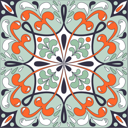 wall hanging: Oriental traditional floral ornament, Moroccan tile design. Vector illustration can be used for desktop wallpaper or frame for a wall hanging or poster,for pattern fills, surface textures, textile.