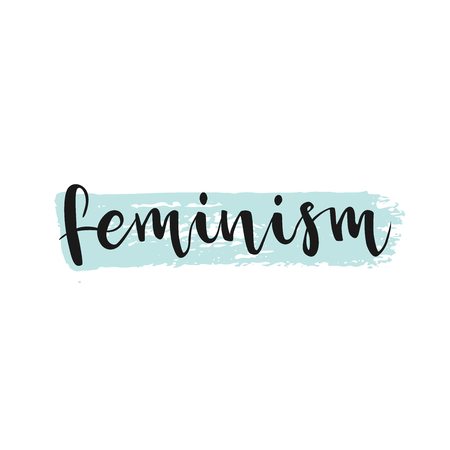 equal opportunity: Feminism word, ink lettering., white inscription at blue ink stroke. Ink illustration. Modern brush calligraphy. Isolated on white background. lettering element for your design.