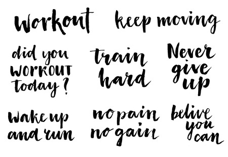 belive: Inspirational workout lettering set. Workout. Keep moving. Did you workout today? Train hard. Never give up. Wake up and train. No pain no gain. Belive you can. Inspirational words, Motivate saying.