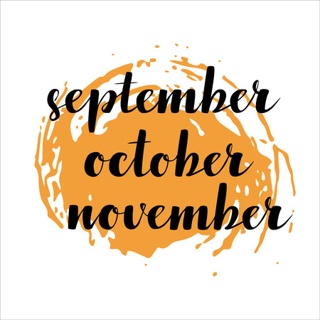 names of months: September, October, November. Calligraphy words for calendars and organizers. Illustration
