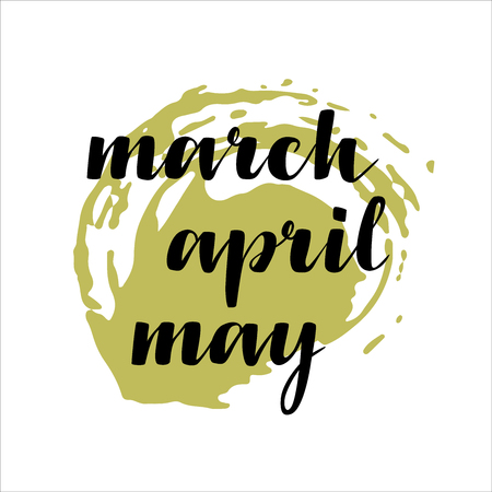 names of months: March, April, May. Calligraphy words for calendars and organizers. Illustration