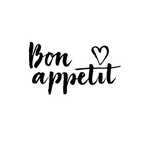 Bon appetit card. lettering background.Ink illustration. Modern brush calligraphy. Brush ink inscription for photo overlays, typography greeting card or t-shirt print, poster design.