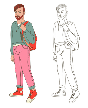 Line style illustration of young person with sneakers and backpack.