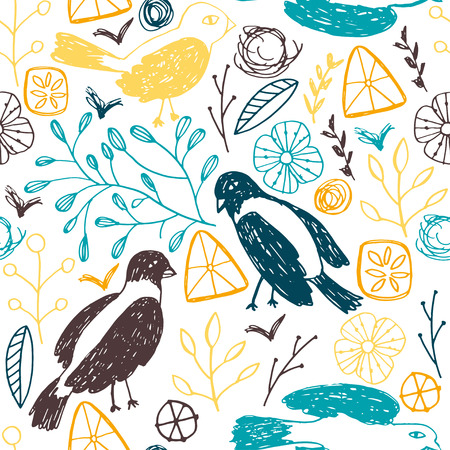 femine: Seamless floral pattern with birds.