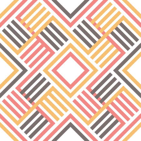 Vector seamless pattern. Modern stylish texture. Geometric ornament with striped rhombuses.