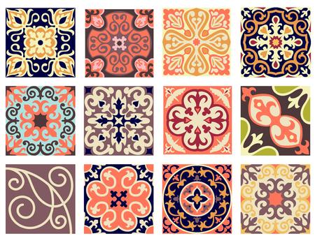 femine: Vintage retro ceramic tile pattern set