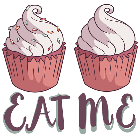 Hand drawing cupcake with the lable: eat me, vector illustration isolated on white background. Illustration