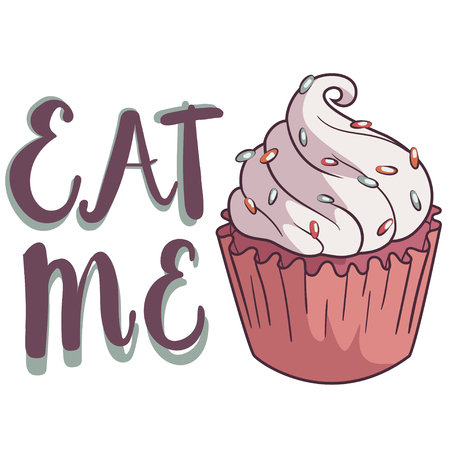 eat me: Hand drawing cupcake with the lable: eat me