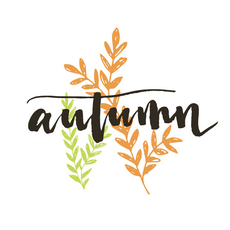 leaf logo: Autumn. Modern brush calligraphy with had drawn leaves. Handwritten ink lettering and custom typography for your designs: t-shirts, bags, for posters, invitations, cards, etc.