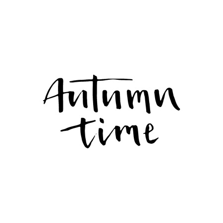 wet paint: Autumn time. Seasonal vector illustration of handwritten lettering. Modern brush lettering. Can be used for print: bags, t-shirts, posters, cards, and for web: banners, blogs, advertisement. Illustration