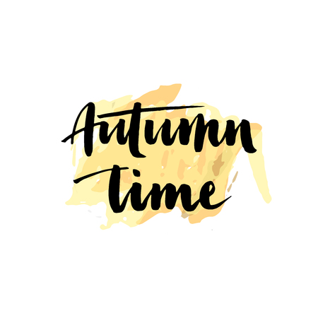 HI: Autumn time. Seasonal vector illustration of handwritten lettering composition.Modern brush calligraphy. Can be used for print: bags, t-shirts, home decor, posters, cards, and for web: banners, blogs. Illustration