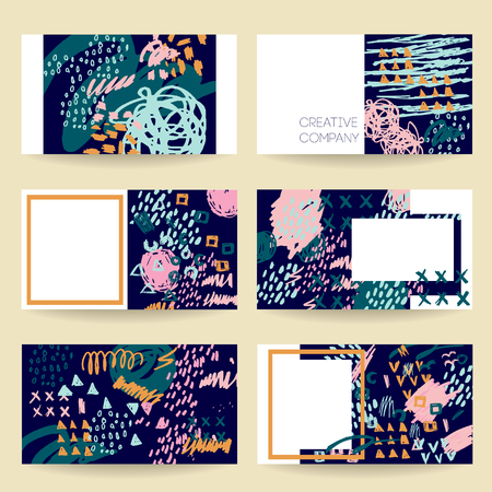 Template of designer business or visiting card set vector abstract template of designer business or visiting card set vector abstract creative business cards cute reheart Gallery