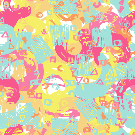 Vector Seamless Pattern. Seamless Pattern with Grunge Elements, Halftone dots, Ink Blots And Brush Strokes.
