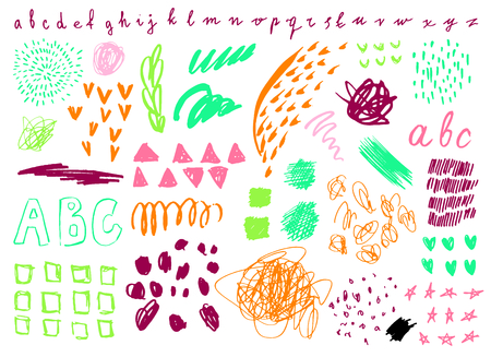 Collection of graphic elements for design, paint drawn with chalk, marker, pastel and pencil on white background. Set of brush strokes.  Hand Drawn textures made with ink.  Stock Illustratie