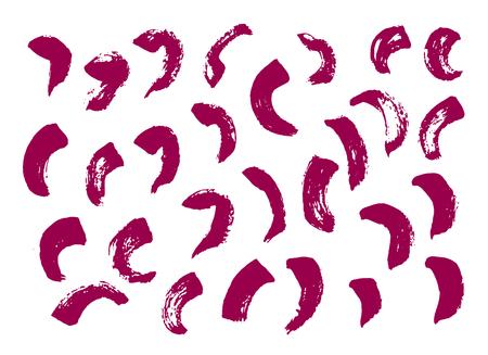 Vector set of grunge brush strokes. Purple vector brush strokes collection. Purple paint spots vector set. Monochrome hand drawn print. Trendy monochrome texture graphic design.