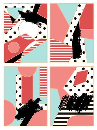 Set of abstract geometric composition in black, white, blue and pink. Vintage dots pattern and geometric elements. Modern and stylish abstract design poster, card design.