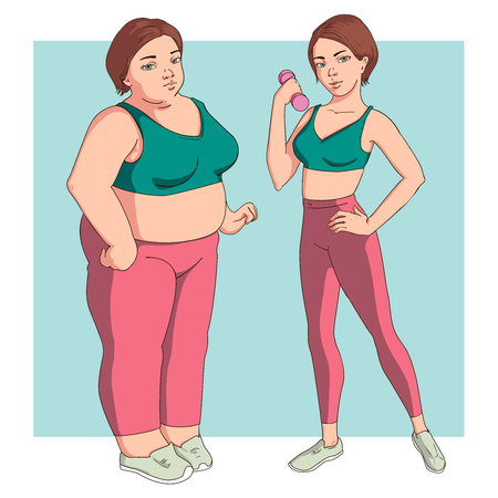 Stages weight loss before and after. Girl in sportswear. Illustration Obesity process. Overweight Problems fat people. Vector illustration. Illustration