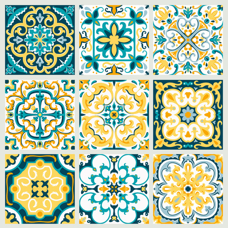Stellen Sie mit der schönen dekorativen Fliesenhintergrund-Vektorillustration ein, die für Muster, Weinlesedesign und Tapete groß ist.