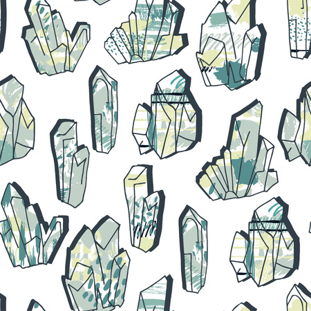 Minerals,stones and crystals, ink drawing seamless pattern at white background,hand drawn vector illustration.