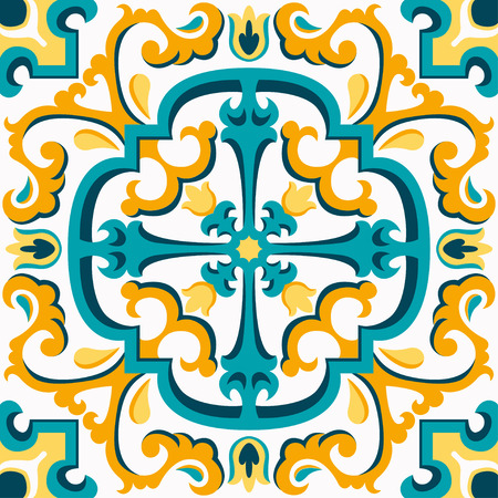 Oriental traditional ornament, Mediterranean seamless pattern, tile design, vector illustration. Yellow, blue and white background.