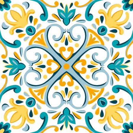 동양 전통 장식, 지중해 완벽 한 패턴, 타일 디자인, 벡터 일러스트 레이 션 노란색, 파란색 및 흰색 배경입니다. 스톡 콘텐츠 - 95015587