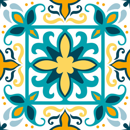 Oriental traditional ornament, Mediterranean seamless pattern, tile design, vector illustration. Yellow, blue and white background. Vetores