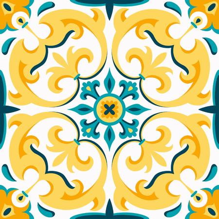 Ornamento tradicional oriental, patrón transparente mediterráneo, diseño de azulejos, ilustración vectorial. Fondo amarillo, azul y blanco.