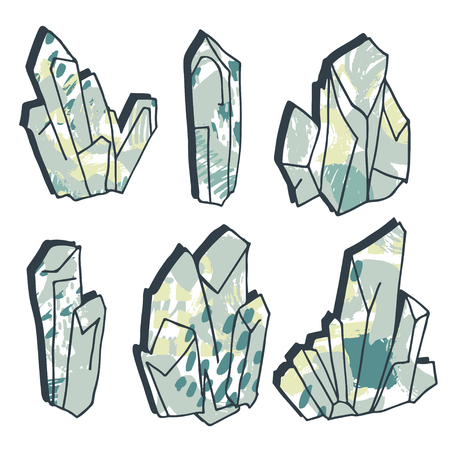 Minerals,stones and crystals, ink drawing isolated elements at white background, with grunge texture, hand drawn vector illustration.