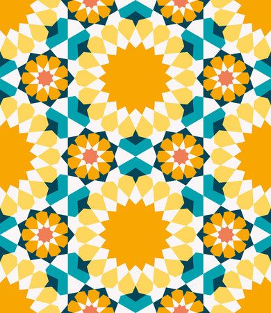 Ornamental seamless pattern. Vector abstract background. Morocco, Traditional Arabic Islamic Background. Mosque decoration element Ideal for wall decoration and wrapping paper design. Ilustração Vetorial