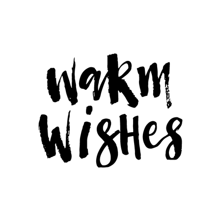 Warm wishes brush script lettering. Vector words hand painted with ink. Hand drawn calligraphy element for your design. 일러스트