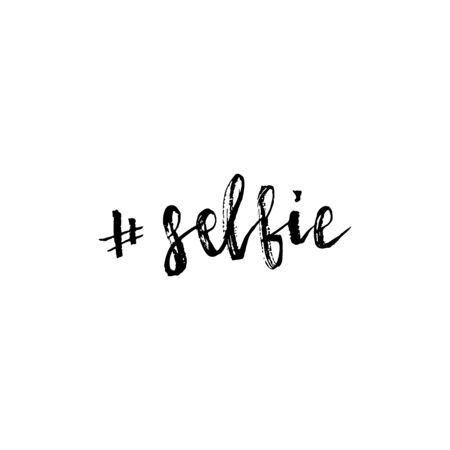 Selfie hashtag lettering. Brush hand lettering. Brush calligraphy. Handwritten word selfie. 일러스트