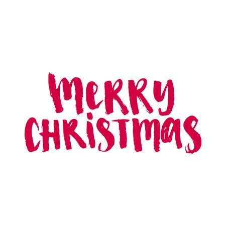 Merry Christmas vector text Calligraphic Lettering design card template. Creative typography for Holiday Greeting Gift Poster. 矢量图像
