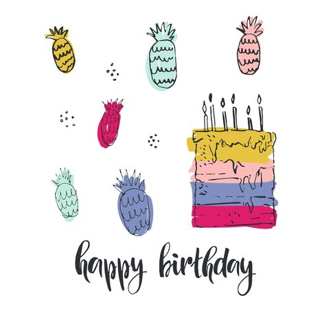 Happy birthday. Hand drawn greeting card with lettering. Modern brush calligraphy. Handwritten ink lettering. Hand drawn vector elements. Modern brush calligraphy. Isolated on white background. Çizim