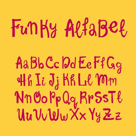 Hand drawn lettering funky alfabet for your design. Brush ink inscription for photo overlays, typography greeting card or t-shirt print, flyer, poster design, home decor and for web. Vecteurs