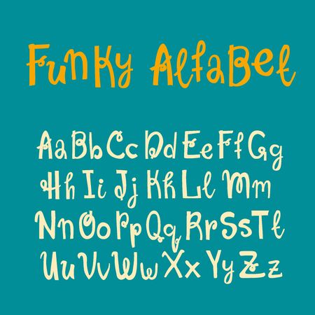Hand drawn lettering funky alfabet for your design. Brush ink inscription for photo overlays, typography greeting card or t-shirt print, flyer, poster design, home decor and for web.