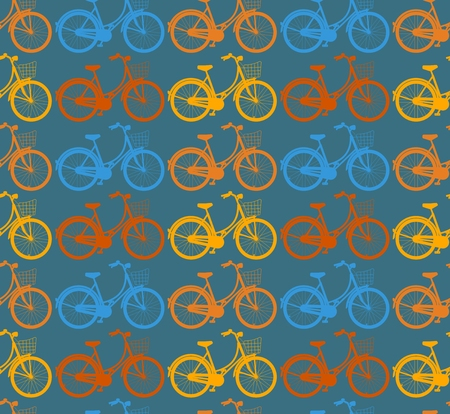 ladys: Bicycle Seamless Pattern. Ladys bike with basket. Outline colorful bicycles. Illustration
