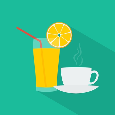 squeezed: Cup of coffee and fresh squeezed orange juice. Flat design. Long shadow. illustration. Illustration