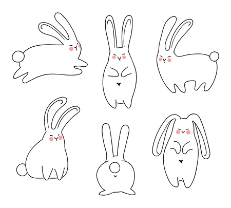 Hand-drawn rabbits set Иллюстрация