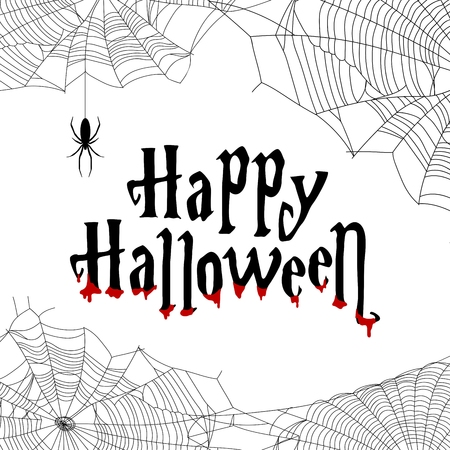 Happy Halloween vector banner with spiders and spiderweb. Dripping red blood.