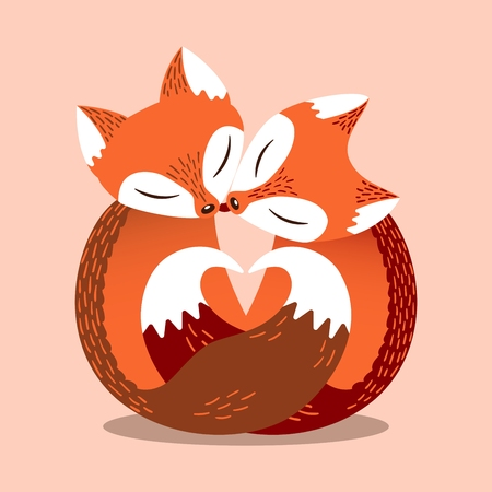 Cute couple of foxes in simple flat style. Heart shape, composed of fox tails. Lovers animals. Bright vector illustration. Cartoon poster, Valentines day card.
