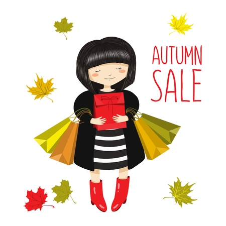 Cute cartoon girl with shopping bags. Autumn sale. Vector illustration isolated on white background for your design. Çizim