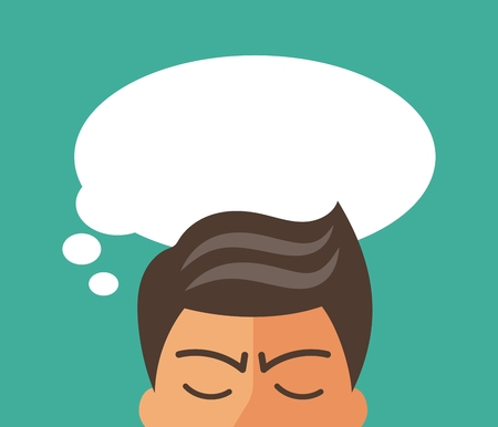 Serious thinking man. Thought cloud for your text or picture. Flat vector illustration.