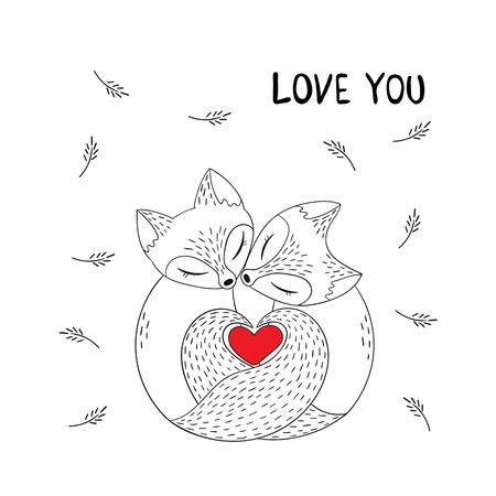 Cute couple of foxes in simple graphic style. Heart shape, composed of fox tails. Lovers animals. Vector illustration with the words love you. Cartoon poster, Valentine's day card.
