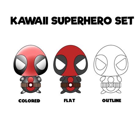 cartoons sweet: Kawaii chibi style superhero set in three styles